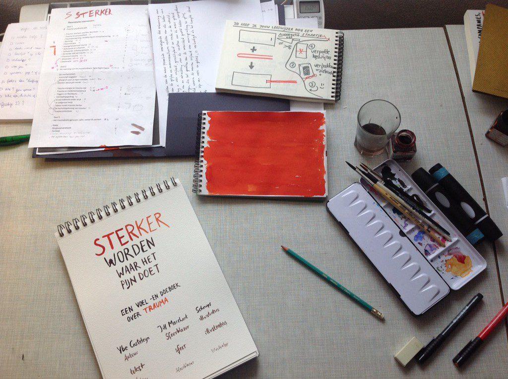 Illustratrice schnups & de cover van 'Sterker worden waar het pijn doet'.